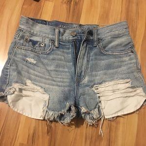 three pairs of american eagle jean shorts